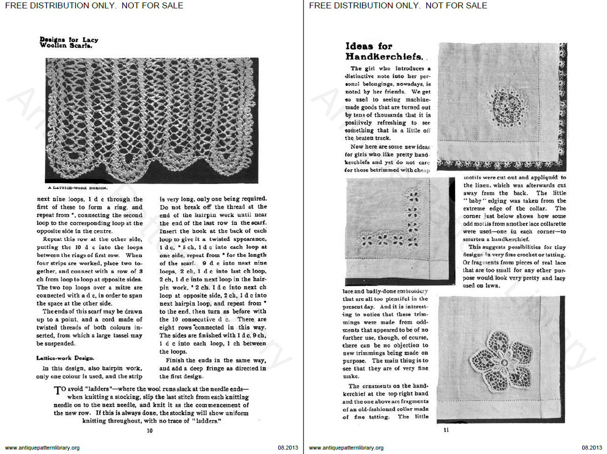 Designs for lacy woollen scarfs (continued) - Ideas for handkerchiefs