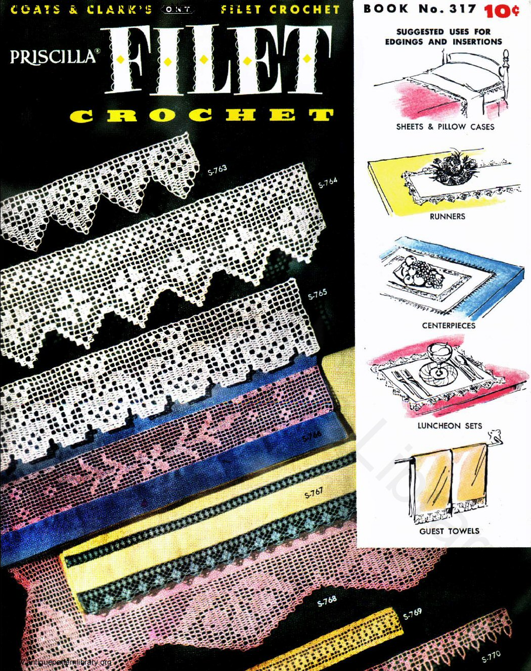 6-TA006 Coats & Clark's O.N.T. Filet Crochet Book No. 317 Priscilla Filet Crochet