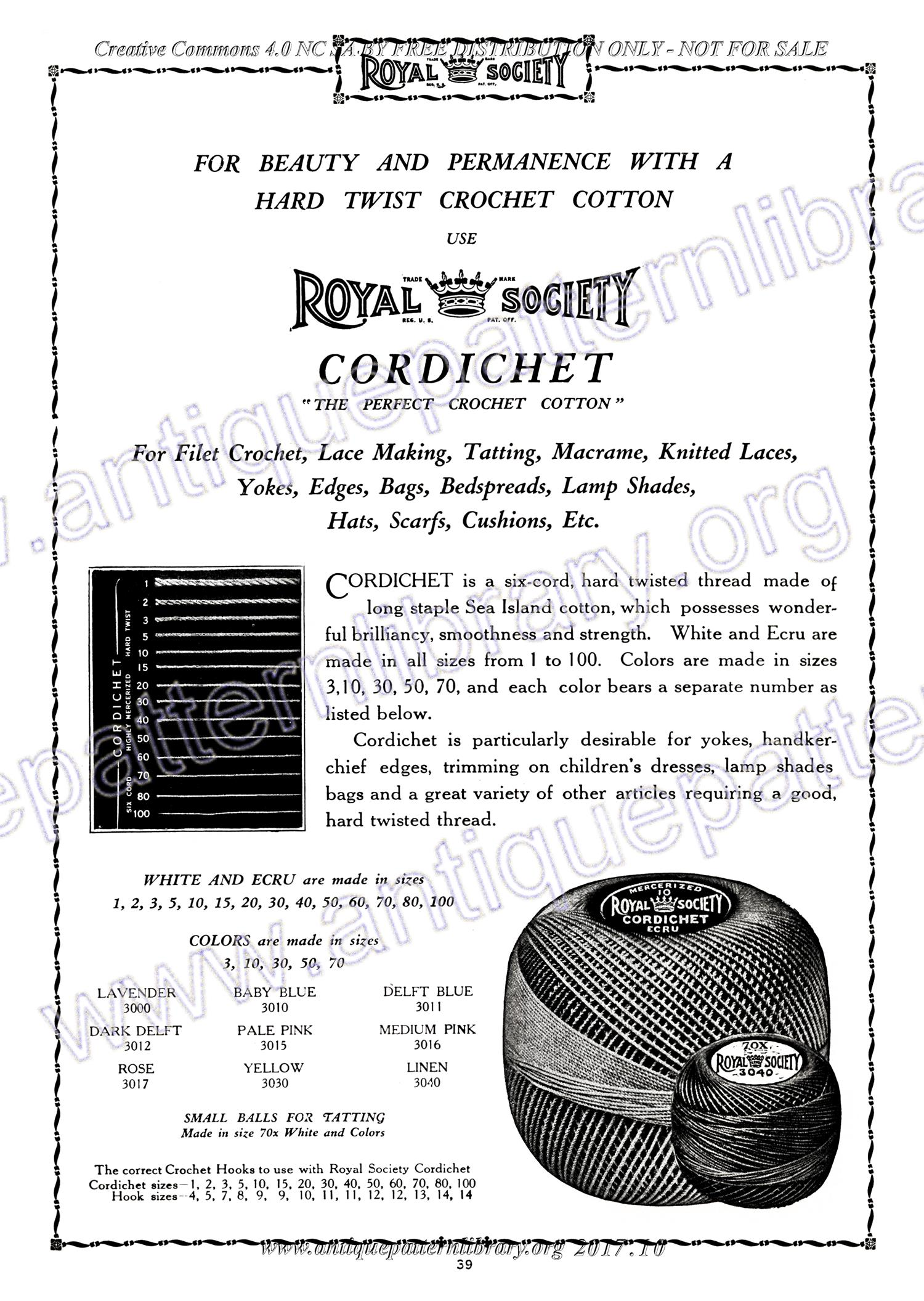 D-SW011 Royal Society Crochet No. 14 Knitting
