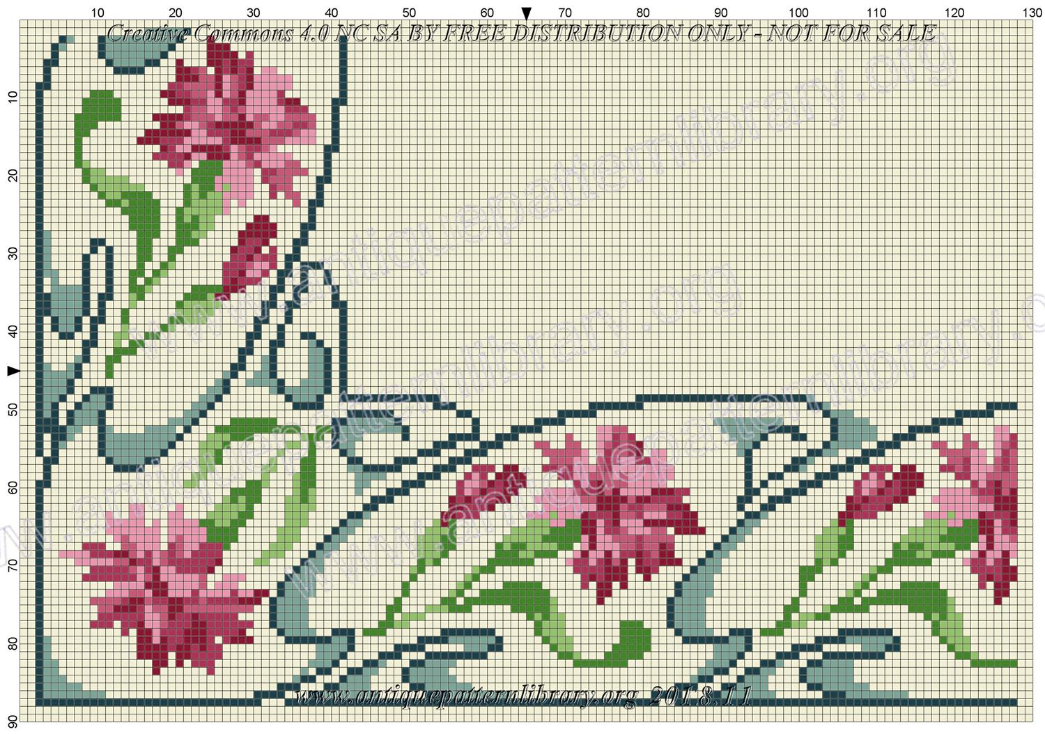 F-IS089 Floral corner design with carnations and blue swirls
