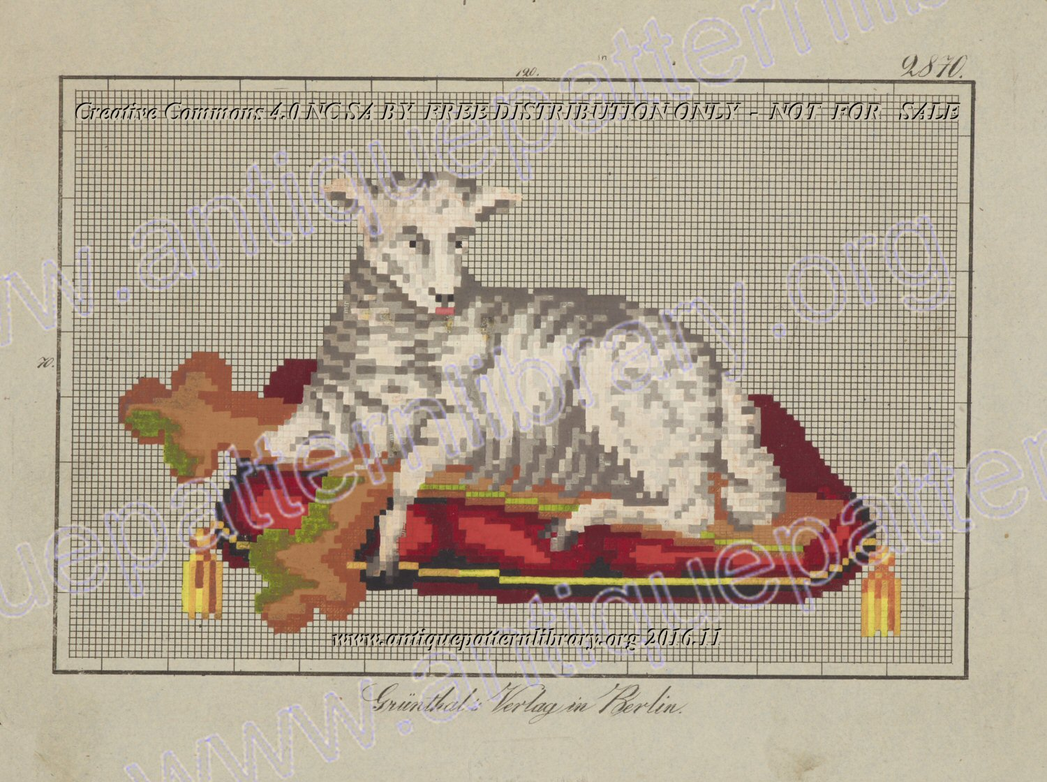 G-TP020 Lamb with cross on cushion