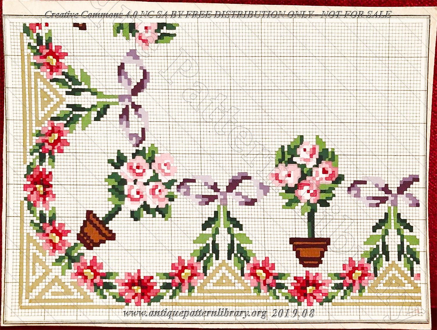 I-BH003 Corner embroidery with potted rose trees, purple ribbons, red flowers