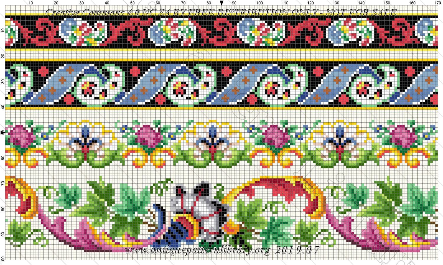 E-CR011 4 Berlin pattern fragments, 2 abstract and 2 flowered borders