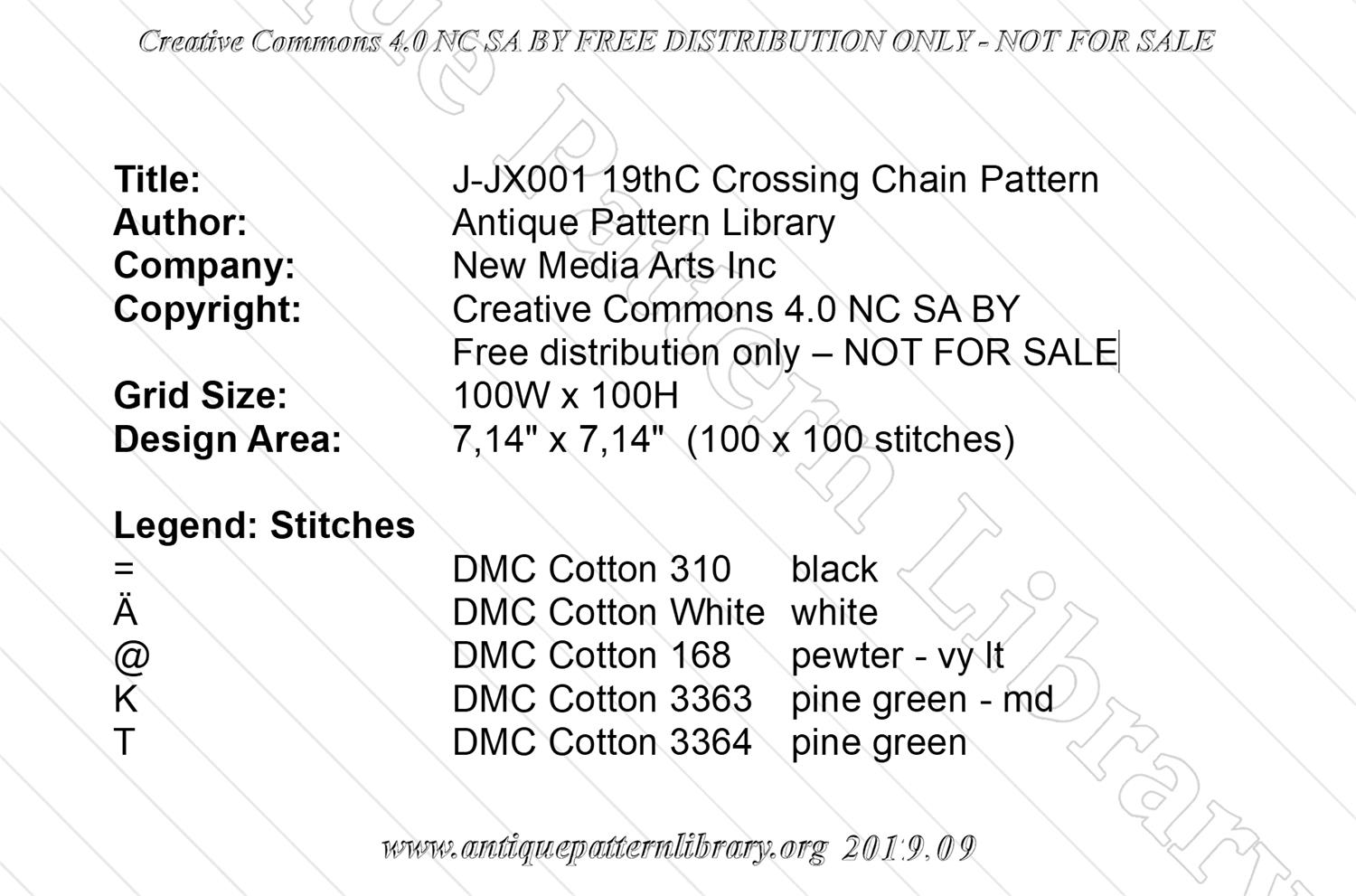 J-JX001 19thC Crossing Chain  Pattern