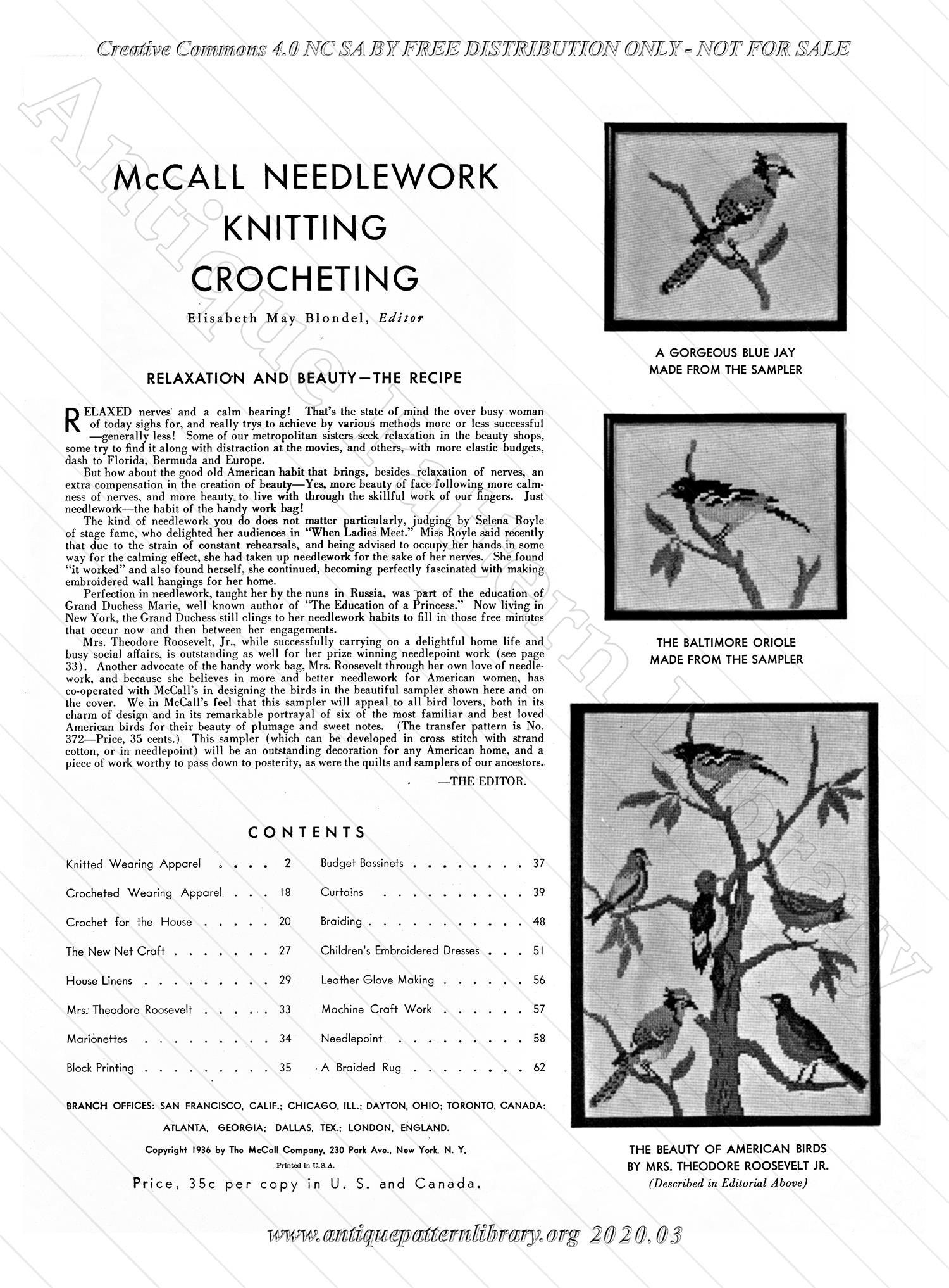 K-AK002 McCall Needlework Knitting Crocheting