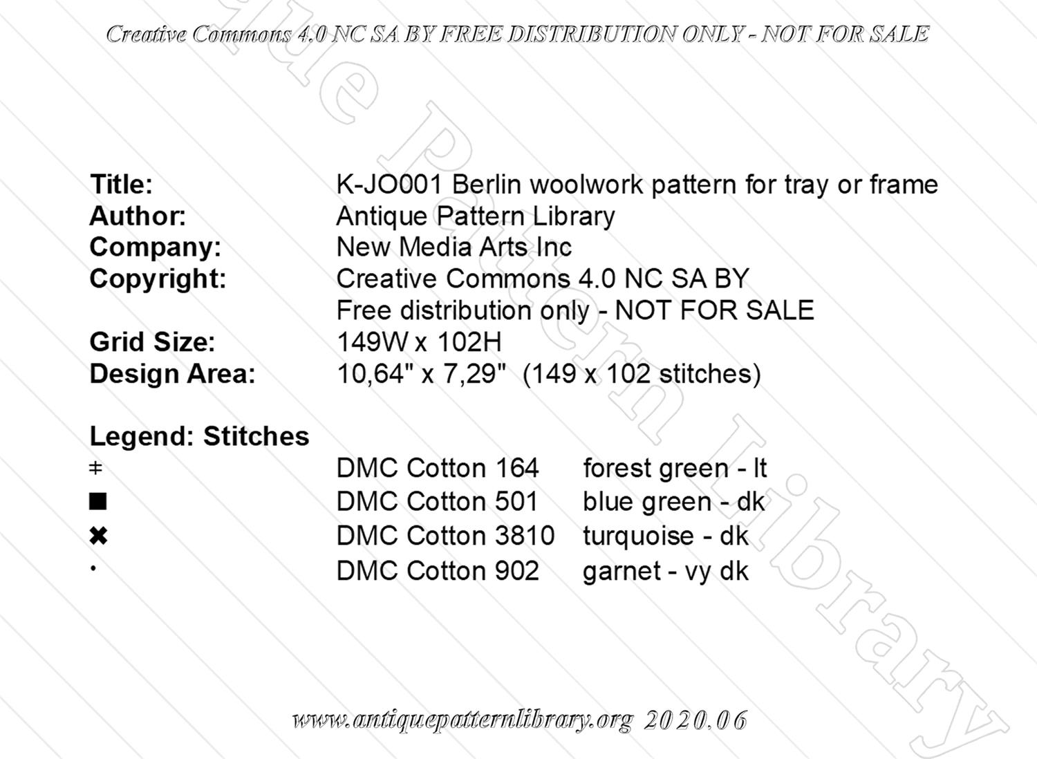 K-JO001 Berlin woolwork pattern for tray or frame